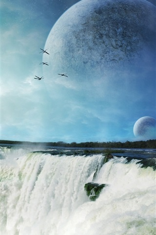 iPhone Wallpaper Art pictures, waterfall, planet, rocket