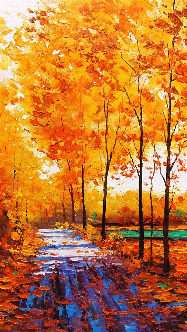 Wallpaper Art Watercolor Autumn Red Maple Forest With