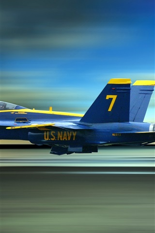 iPhone Wallpaper Blue Angels, the high-speed flying fighter