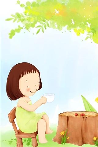 iPhone Papéis de Parede Criança tema pintura, chá menina debaixo de uma árvore