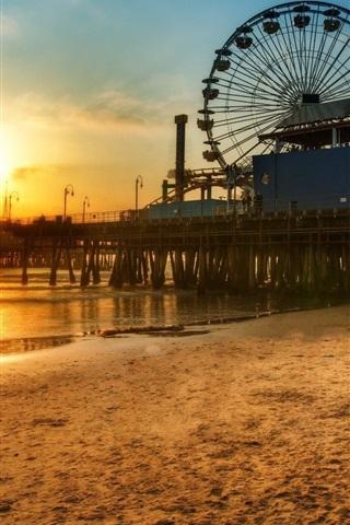 iPhone Papéis de Parede Los Angeles doca roda gigante, Praia do sol