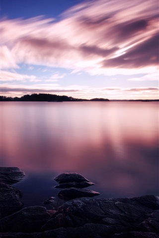 Purple Sunset White Clouds In The Sky Lake Water 750x1334 Iphone 8