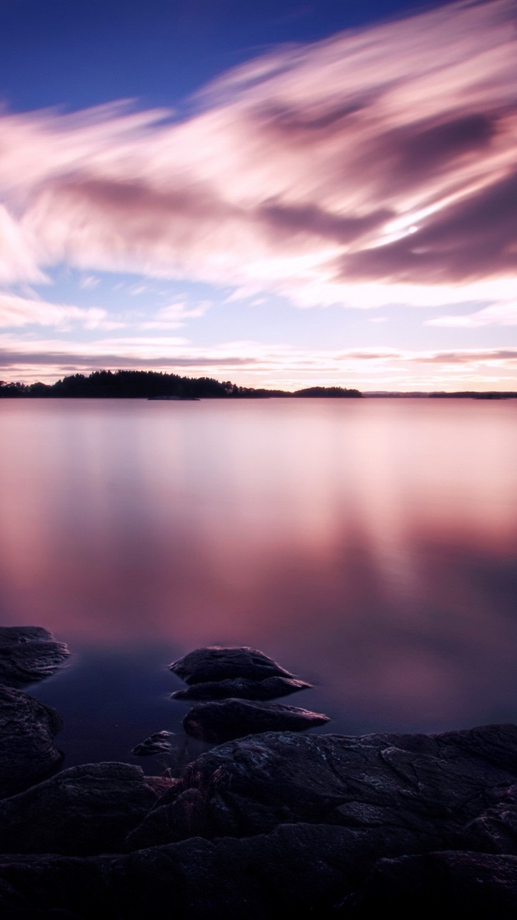 Wallpaper Purple Sunset White Clouds In The Sky Lake Water