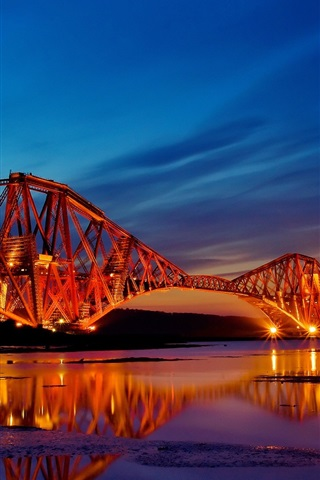 iPhone Wallpaper Scotland bridge night lights