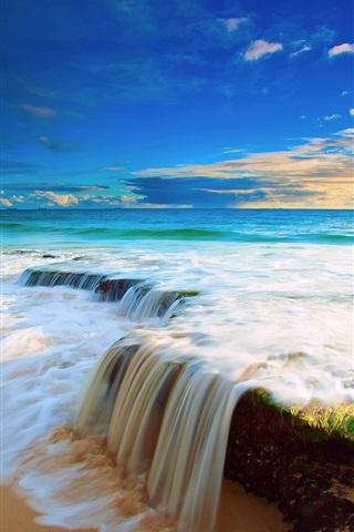 iPhone Wallpaper Sea, sky, clouds, beach water flow waterfall, beautiful scenery