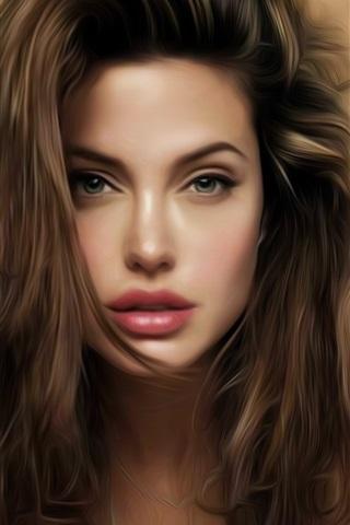 iPhone Wallpaper Angelina Jolie beautiful art painting