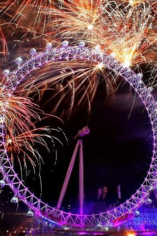 iPhone Wallpaper City Ferris wheel, fireworks at night
