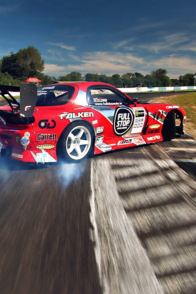 Mazda Rx 7 Racing Drift Smoke 640x960 Iphone 4 4s Wallpaper