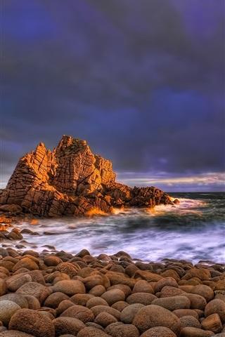 iPhone Wallpaper The ocean waves, rocks beach sunset clouds