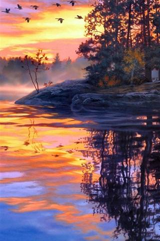 iPhone Wallpaper Art painting, twilight scenery, lake, forest, birds, sunset