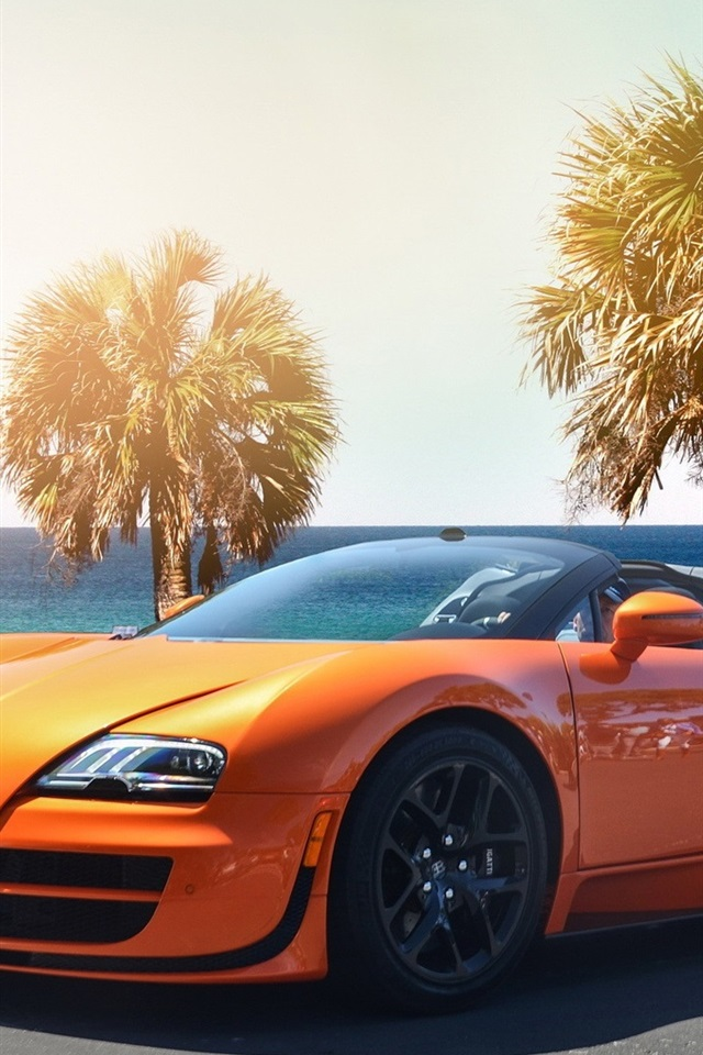 Fonds Dcran Bugatti Veyron Hypercar Couleur Orange