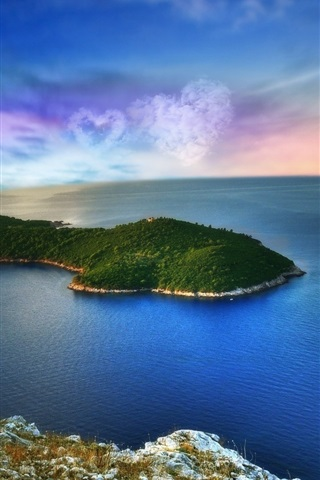 iPhone Wallpaper Fantasy landscape, island, sea, heart-shaped clouds, planet