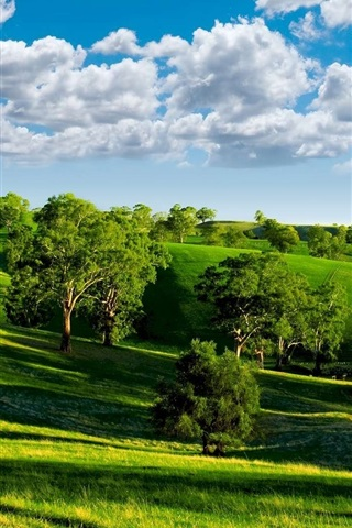 Wallpaper Green Valley Nature Scenery Blue Sky White