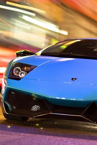 iPhone Wallpaper Lamborghini blue car in the city night road