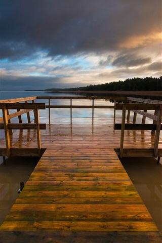 iPhone Wallpaper Sweden Varmland lake, wooden bridge, night sky clouds