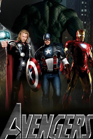iPhone Wallpaper The Avengers, five super heroes