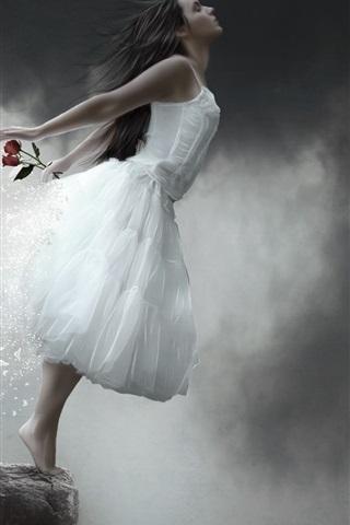 iPhone Wallpaper The fantasy girl incarnation of butterflies, rose petals falling