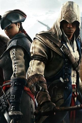 iPhone Wallpaper Assassin's Creed 3, four assassins
