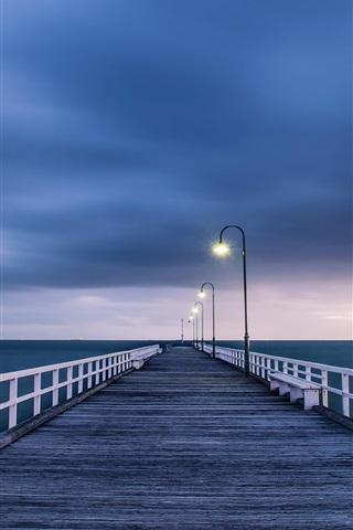 iPhone Wallpaper Australian landscape, wooden bridge, night lights, blue sea and sky