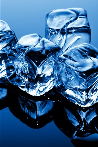 iPhone Wallpaper Blue theme, cold ice cubes