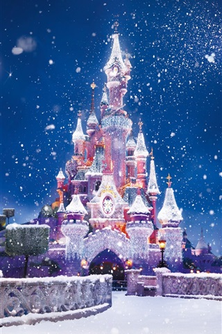 iPhone Wallpaper Christmas and New Year, the Disney castle, snow flying