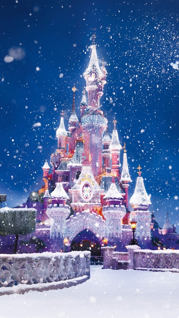 Christmas And New Year The Disney Castle Snow Flying 750x1334 Iphone 8 7 6 6s Wallpaper Background Picture Image