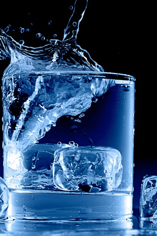 iPhone Wallpaper Icy blue, glass cup, water, ice cubes, splash