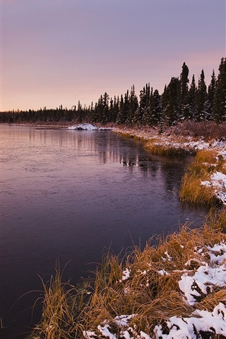 iPhone Wallpaper Sunset landscape, winter lake and trees