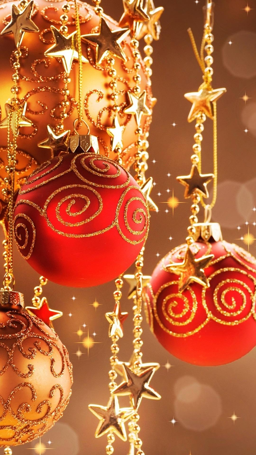 暖かいクリスマスの装飾 装飾的な赤いボール 1080x1920 Iphone 8 7 6