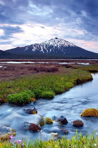 iPhone Wallpaper Wetland landscape, sunset, river, snow-capped mountains, cloudy sky