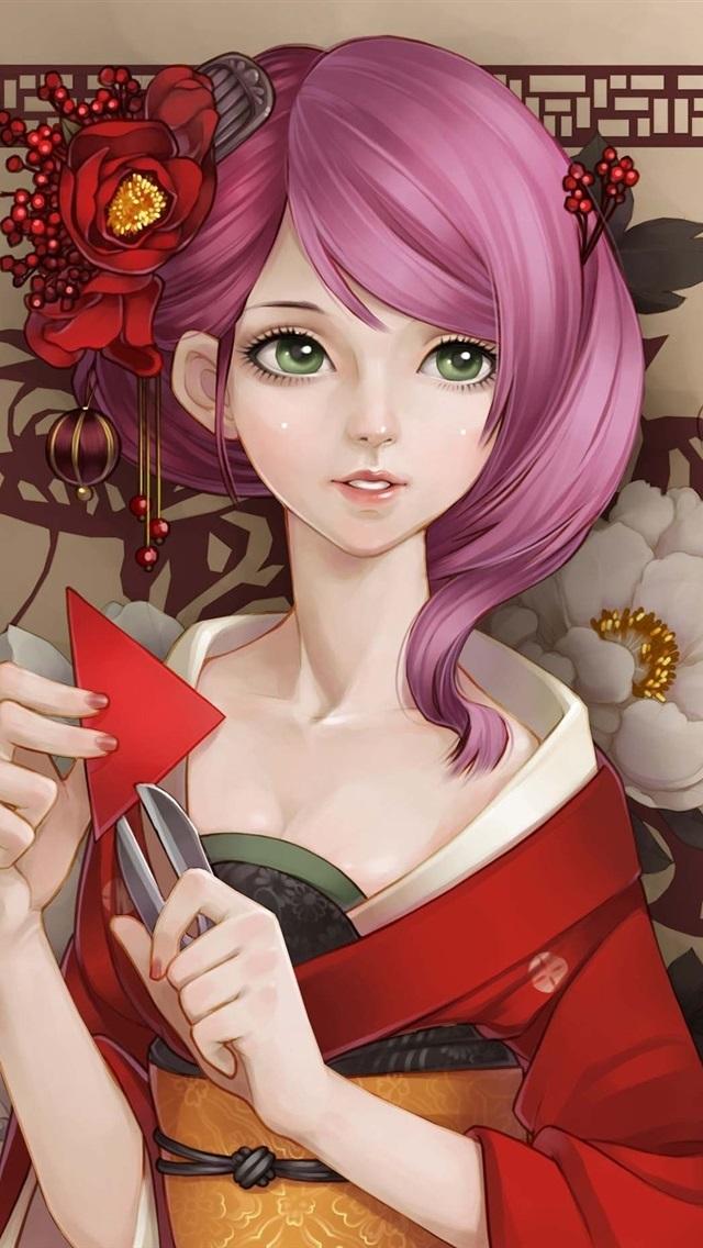 Wallpaper Beautiful Kimono Japanese Anime Girl, Pink Hair -9424