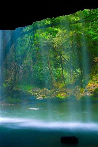 iPhone Papéis de Parede Belas paisagens, cachoeira, rio, floresta, rocha