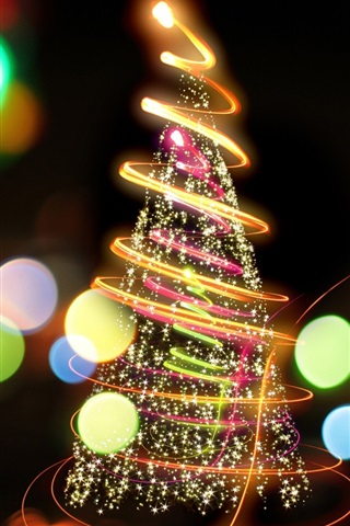 iPhone Wallpaper Fire tree, beautiful christmas new year colorful lights