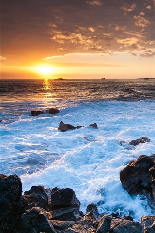 Hawaii ocean sunset, rocks, coast