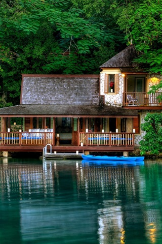 iPhone Wallpaper Jamaica scenery, green trees, the lake, the house