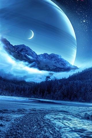 iPhone Papéis de Parede Fotos de design criativo bonito, floresta, inverno, planeta, espaço