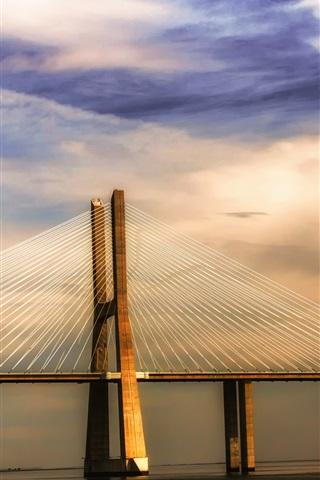 iPhone Wallpaper Portugal Lisbon river Tagus, bridge, sunset