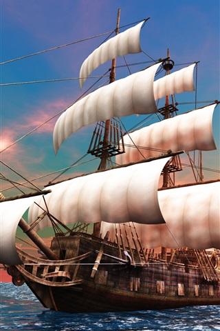 iPhone Wallpaper 3D creative design pictures, sailboat, dawn, the sea