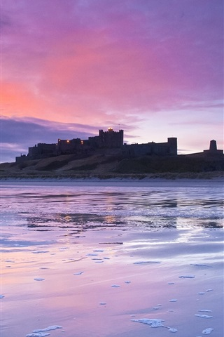 iPhone Wallpaper British castle, coast, dusk, sunset, lilac, sky, clouds