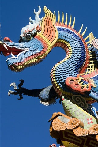 iPhone Wallpaper China building, dragon and phoenix carving art