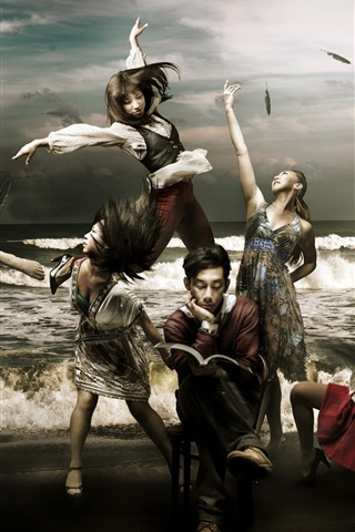 iPhone Wallpaper Creative pictures, the book's beautiful girls, dance, the sea