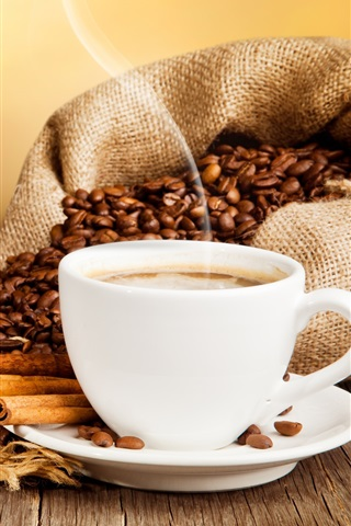 iPhone Wallpaper Cup of coffee, drink, coffee beans, cinnamon, saucer