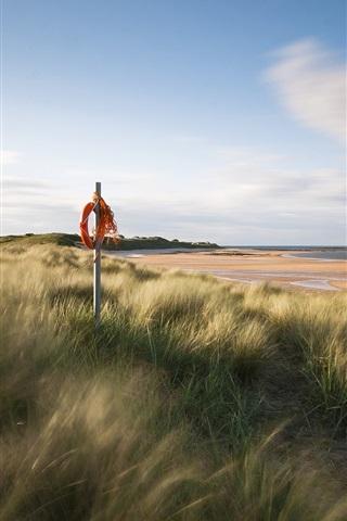 iPhone Wallpaper England sea coast scenery, sand beach, grass