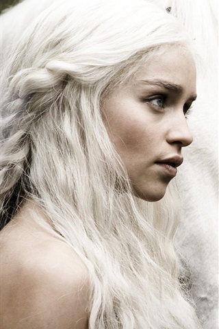 iPhone Wallpaper Game of Thrones, Emilia Clarke with horse, white hair