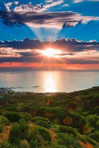 iPhone Обои Южная Африка, Кейптаун, закат пейзаж, море, берег, небо, облака