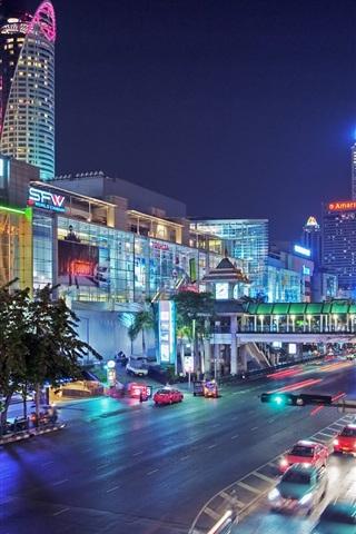 iPhone Wallpaper Thailand, Bangkok, city at night, streets, lights, cars