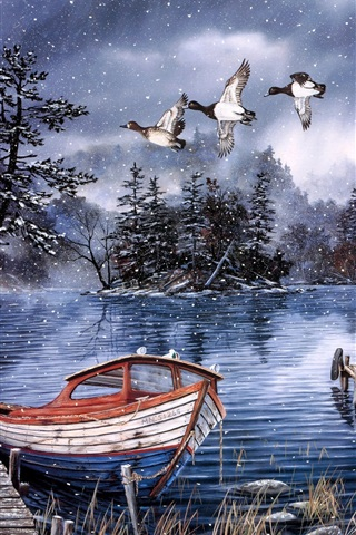 iPhone Wallpaper Watercolor painting, lake and woods, snow winter, dock, ducks, boat