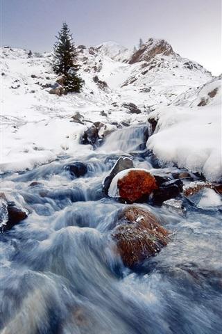 iPhone Wallpaper Winter landscape, snow, ice, streams, stone, mountain
