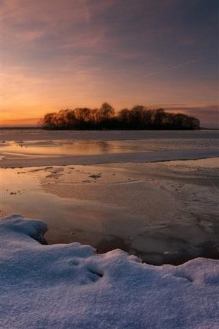 iPhone Wallpaper Winter snow, sunset, lake