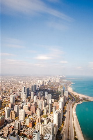 iPhone Wallpaper Chicago, USA, Illinois, ocean, coastline, horizon, sky, clouds, skyscrapers, roads